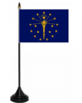 Indiana Desk / Table Flag with plastic stand and base.